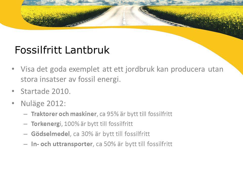 Fossilfritt Lantbruk Visa det goda exemplet att ett jordbruk kan producera utan stora insatser av fossil energi.