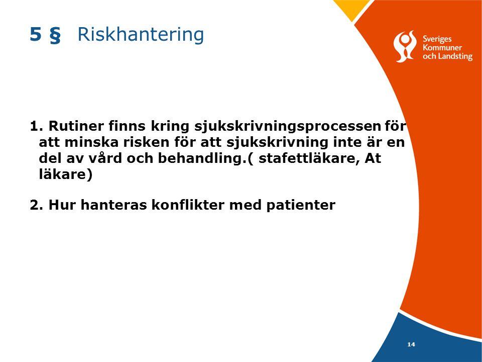 5 § Riskhantering
