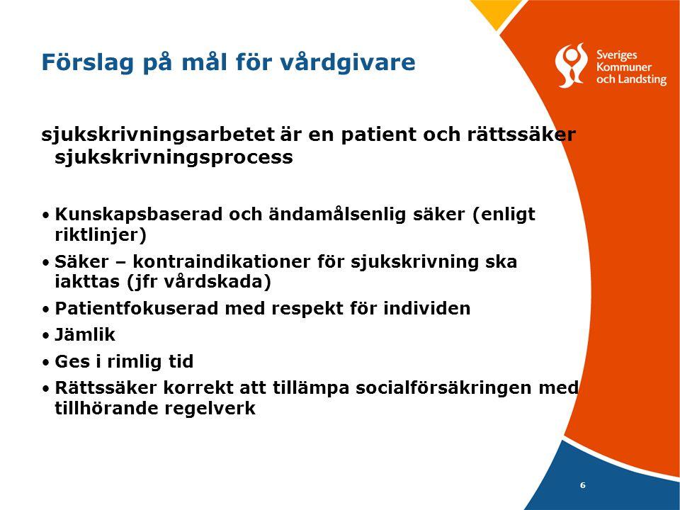Förslag på mål för vårdgivare