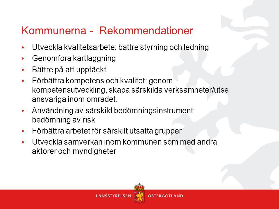 Kommunerna - Rekommendationer