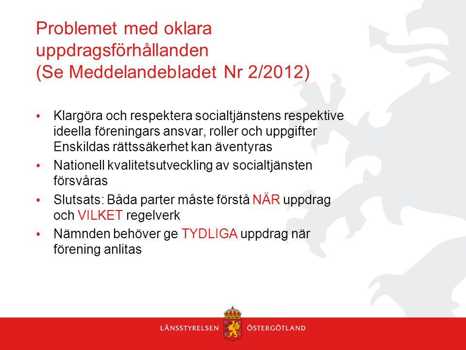 Problemet med oklara uppdragsförhållanden (Se Meddelandebladet Nr 2/2012)