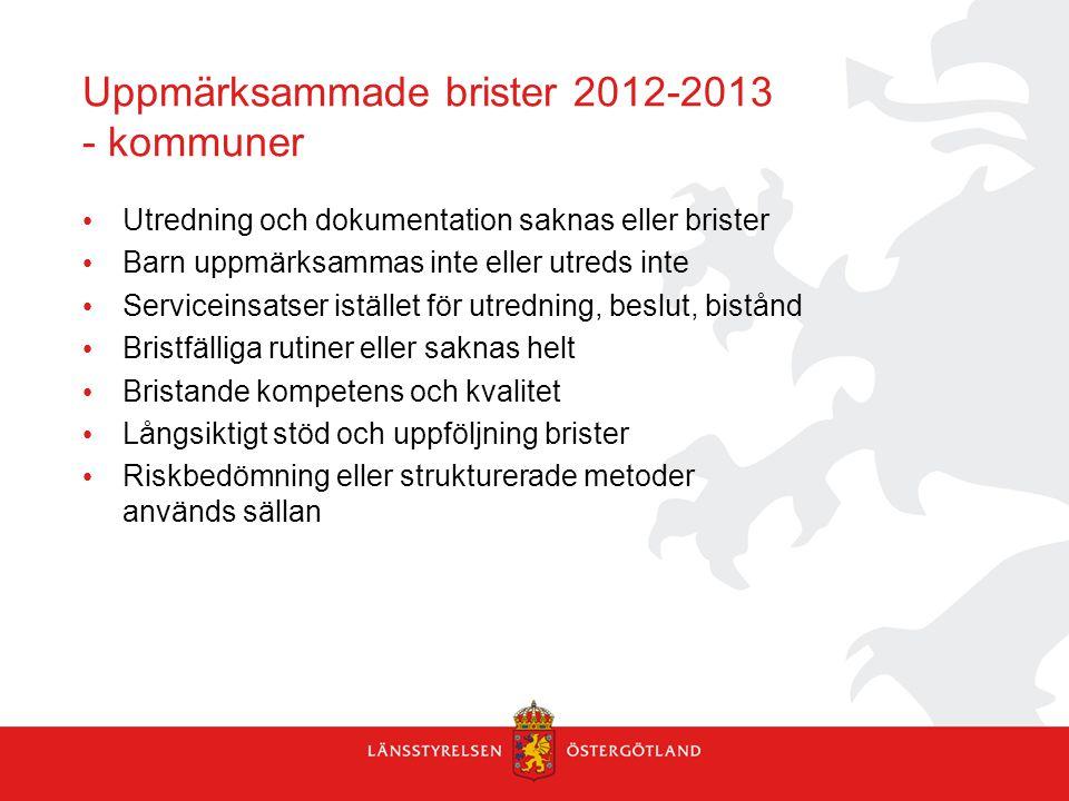 Uppmärksammade brister 2012-2013 - kommuner