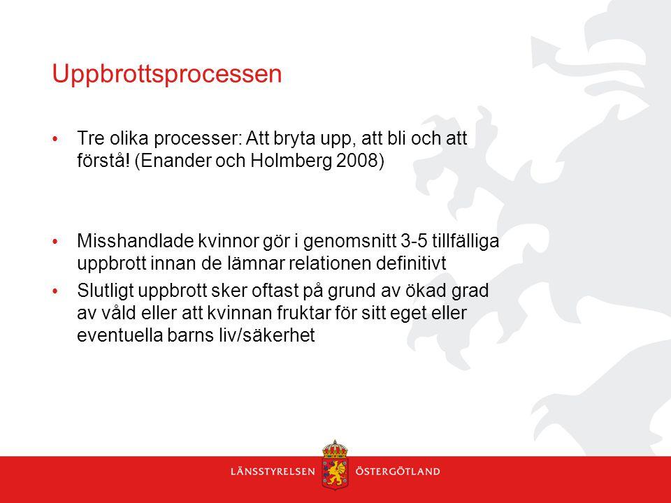 Uppbrottsprocessen Tre olika processer: Att bryta upp, att bli och att förstå! (Enander och Holmberg 2008)