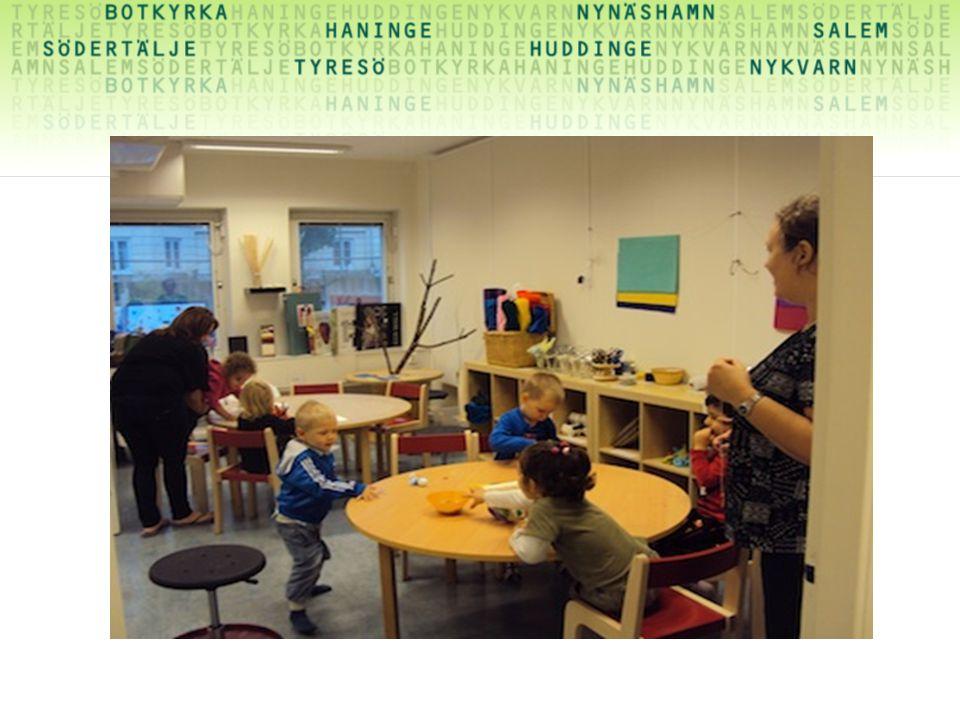 2,5 – 4 år…… på ELD finns inga matbord utan de bord som finns är arbetsbord där barnens arbeten kan finnas kvar över lång tid.