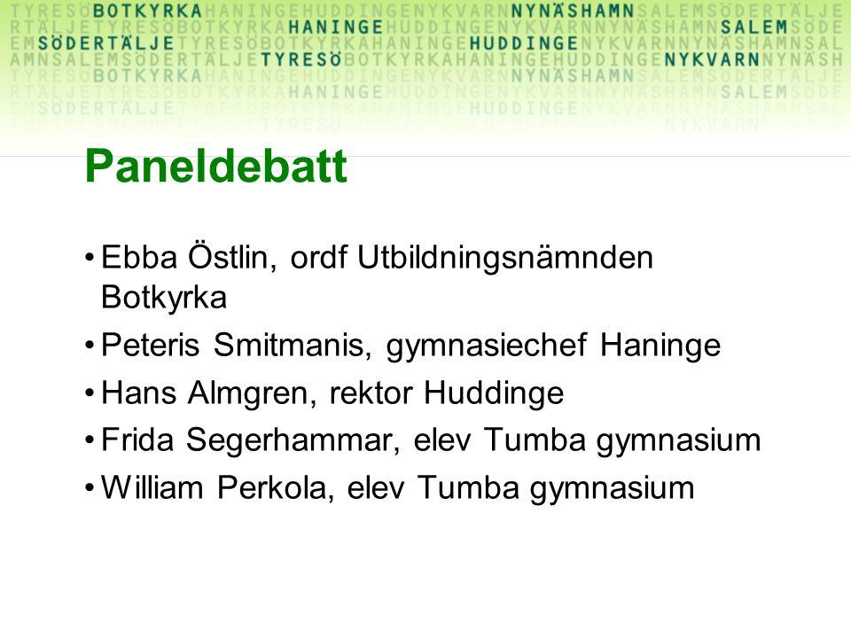 Paneldebatt Ebba Östlin, ordf Utbildningsnämnden Botkyrka