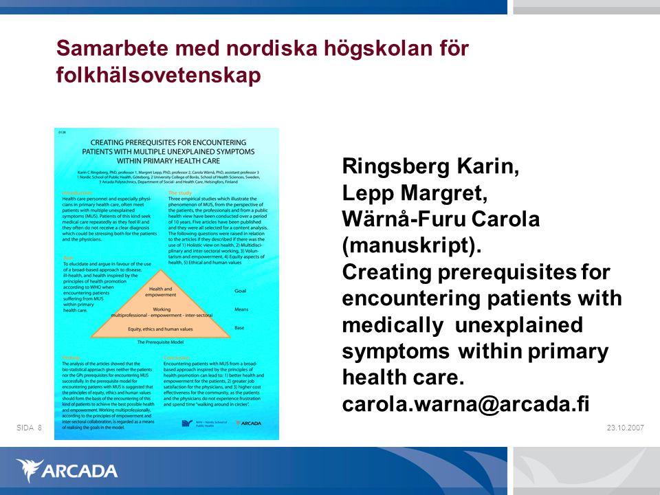 Samarbete med nordiska högskolan för folkhälsovetenskap