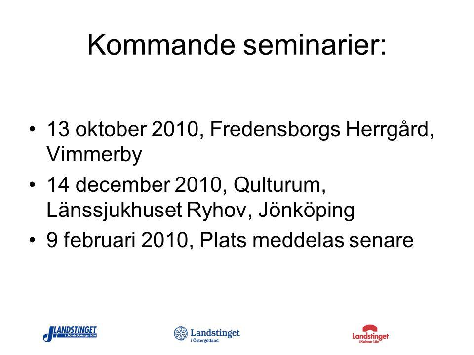 Kommande seminarier: 13 oktober 2010, Fredensborgs Herrgård, Vimmerby
