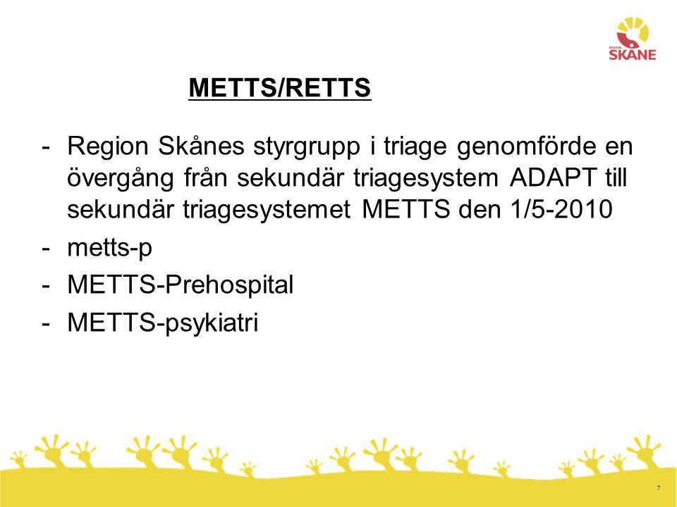 METTS/RETTS Region Skånes styrgrupp i triage genomförde en övergång från sekundär triagesystem ADAPT till sekundär triagesystemet METTS den 1/5-2010.