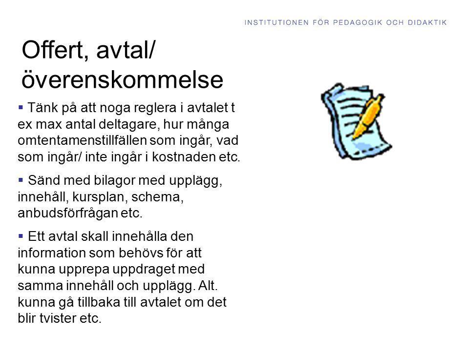 Offert, avtal/ överenskommelse