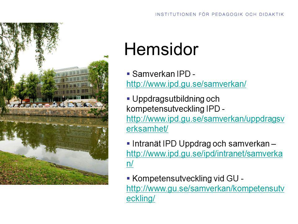 Hemsidor Samverkan IPD - http://www.ipd.gu.se/samverkan/