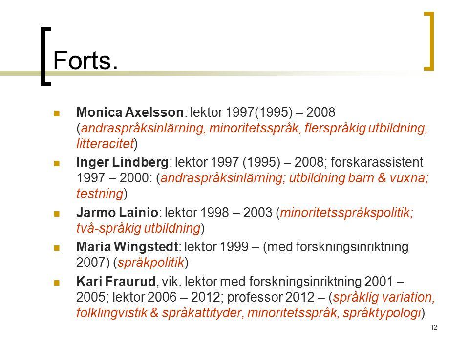 Forts. Monica Axelsson: lektor 1997(1995) – 2008 (andraspråksinlärning, minoritetsspråk, flerspråkig utbildning, litteracitet)