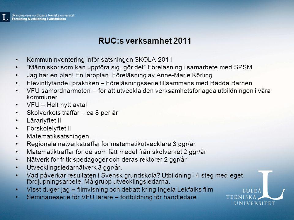 RUC:s verksamhet 2011 Kommuninventering inför satsningen SKOLA 2011