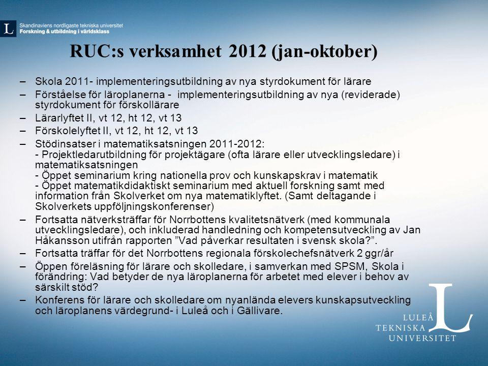 RUC:s verksamhet 2012 (jan-oktober)