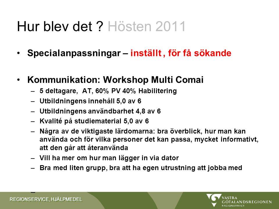 Hur blev det Hösten 2011 Specialanpassningar – inställt , för få sökande. Kommunikation: Workshop Multi Comai.