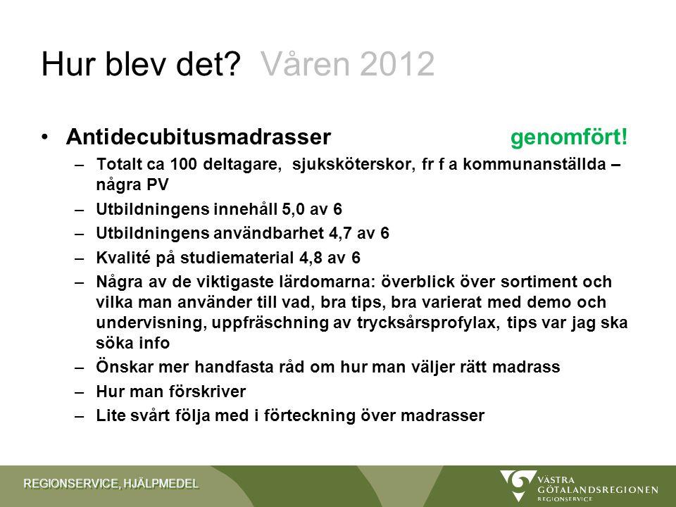 Hur blev det Våren 2012 Antidecubitusmadrasser genomfört!