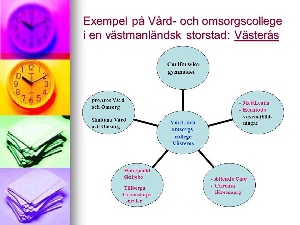 Exempel på Vård- och omsorgscollege i en västmanländsk storstad: Västerås