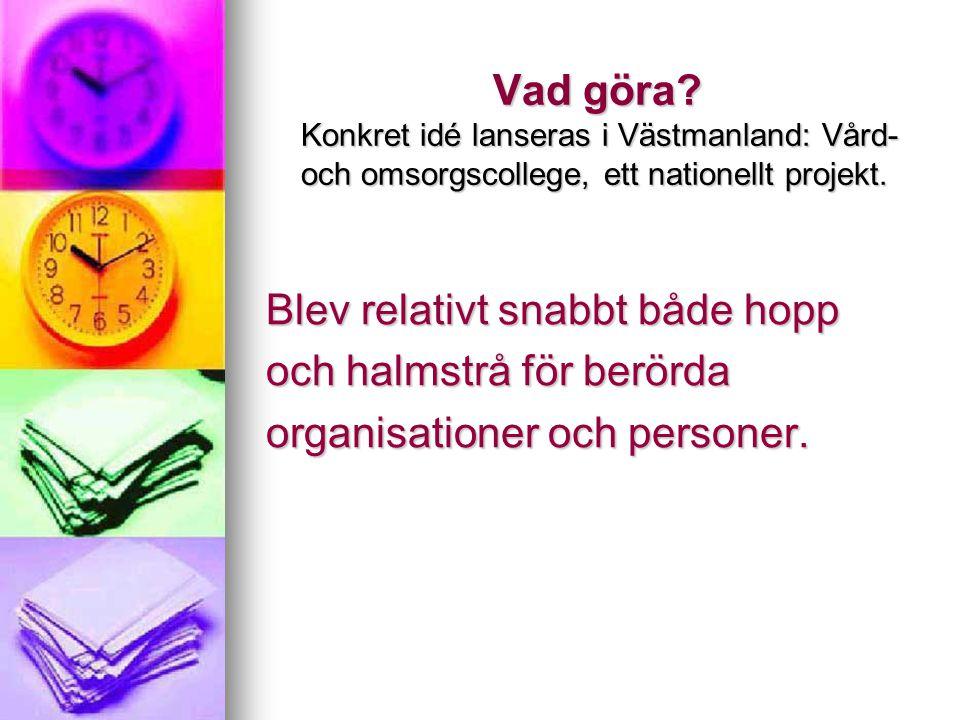 Vad göra Konkret idé lanseras i Västmanland: Vård- och omsorgscollege, ett nationellt projekt.