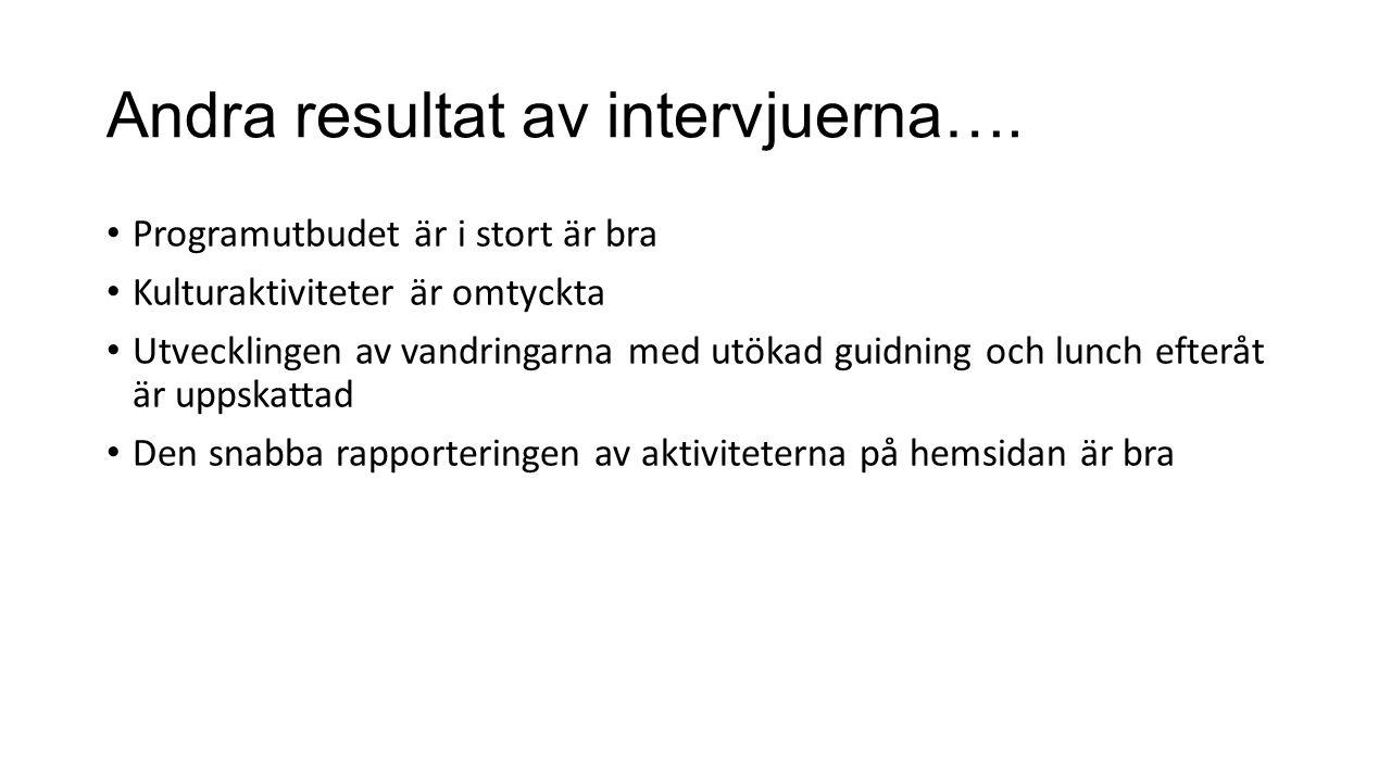 Andra resultat av intervjuerna….