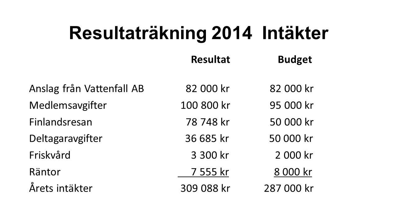 Resultaträkning 2014 Intäkter