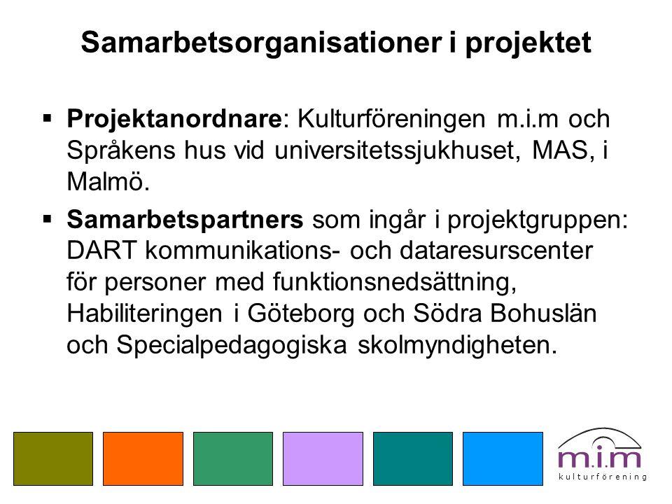 Samarbetsorganisationer i projektet