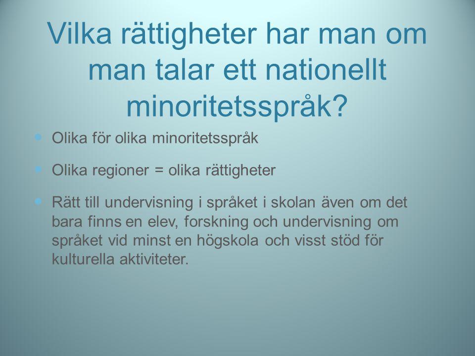 Vilka rättigheter har man om man talar ett nationellt minoritetsspråk