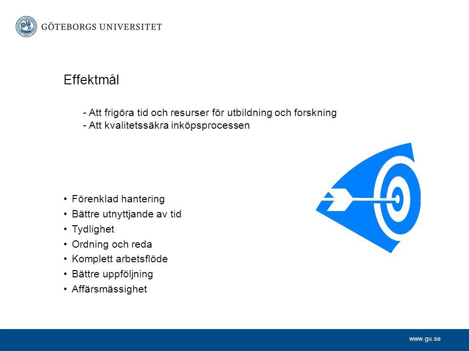 Effektmål - Att frigöra tid och resurser för utbildning och forskning - Att kvalitetssäkra inköpsprocessen