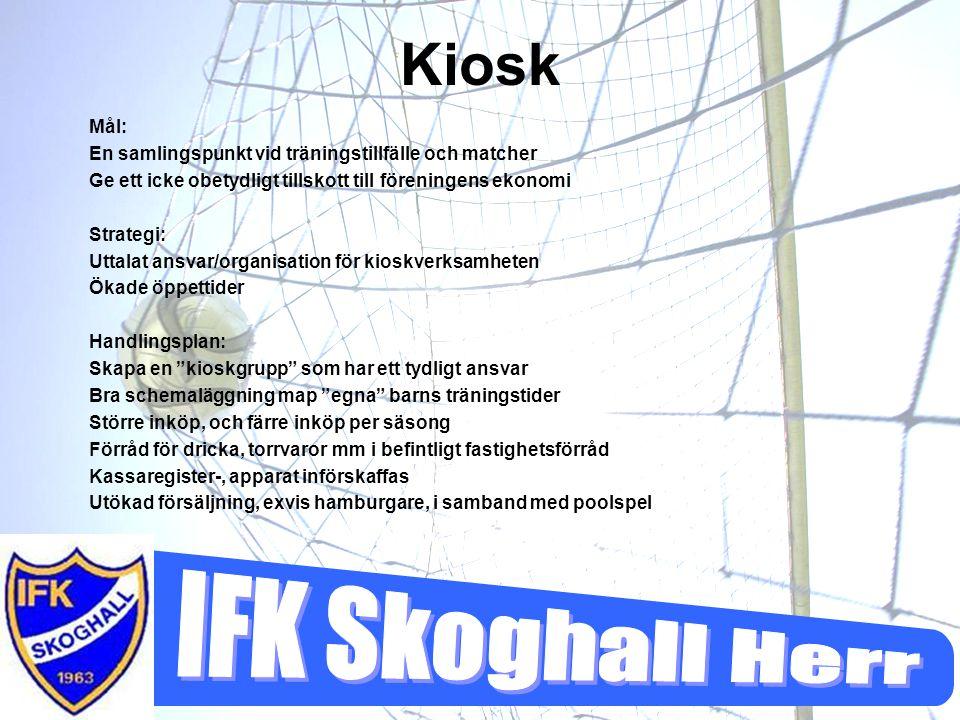 Kiosk Mål: En samlingspunkt vid träningstillfälle och matcher