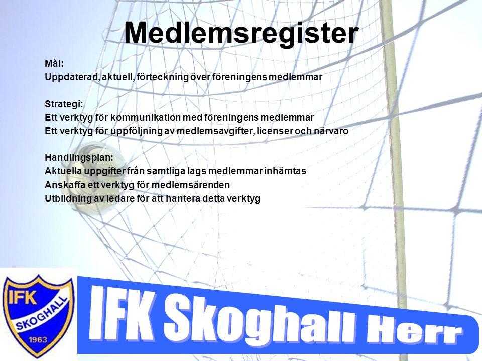 Medlemsregister Mål: Uppdaterad, aktuell, förteckning över föreningens medlemmar. Strategi: