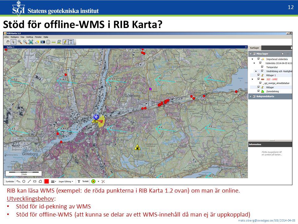 Stöd för offline-WMS i RIB Karta