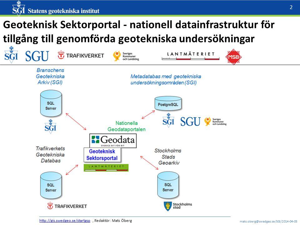 Geoteknisk Sektorportal - nationell datainfrastruktur för tillgång till genomförda geotekniska undersökningar