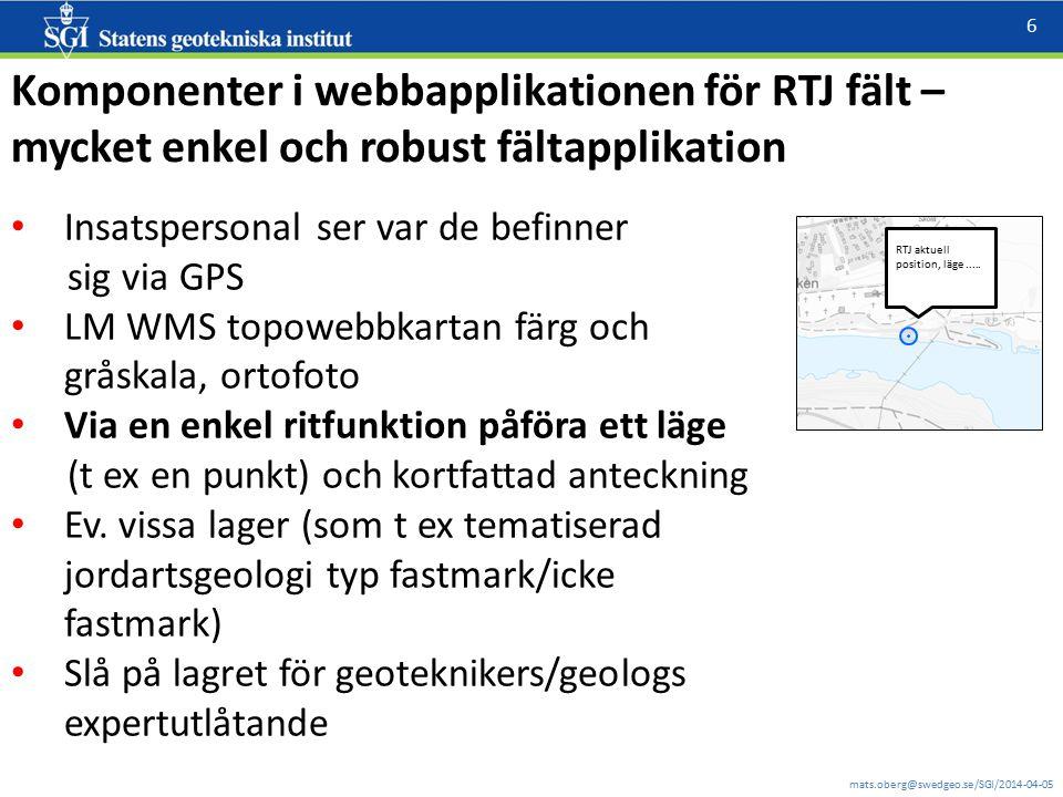 Komponenter i webbapplikationen för RTJ fält –