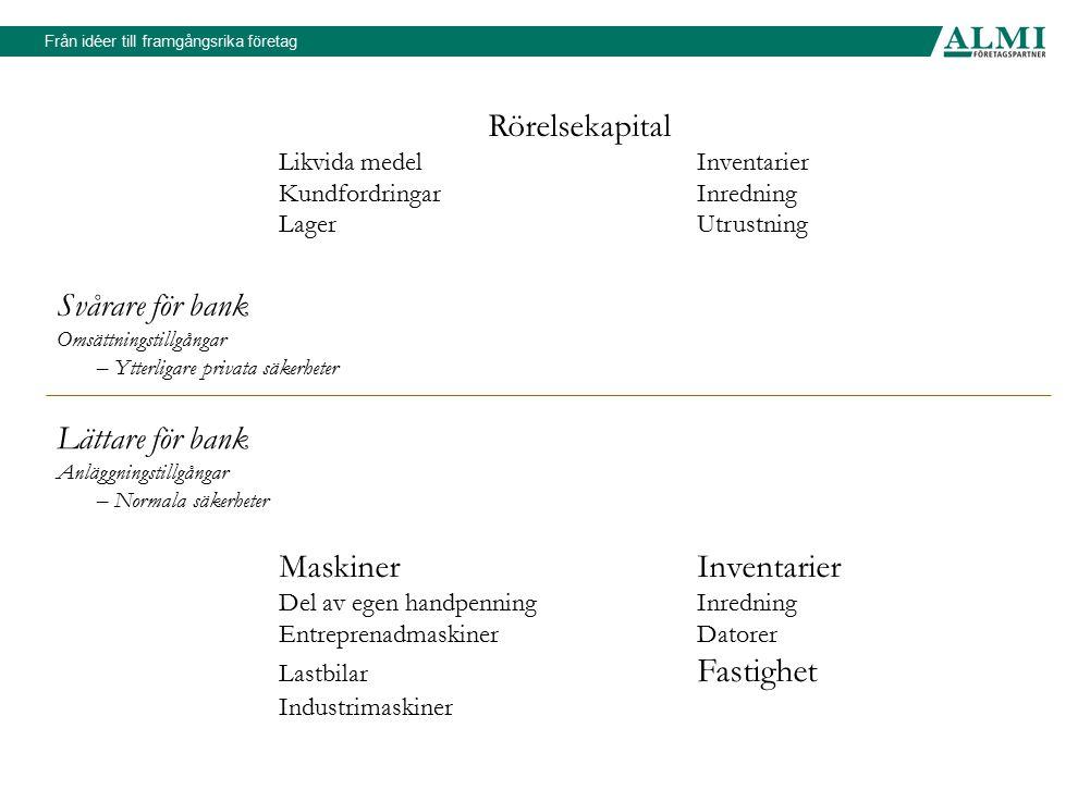 Rörelsekapital Svårare för bank Lättare för bank Maskiner Inventarier