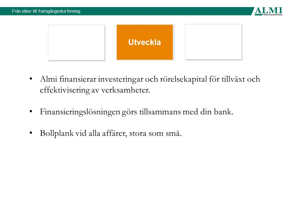 Finansieringslösningen görs tillsammans med din bank.