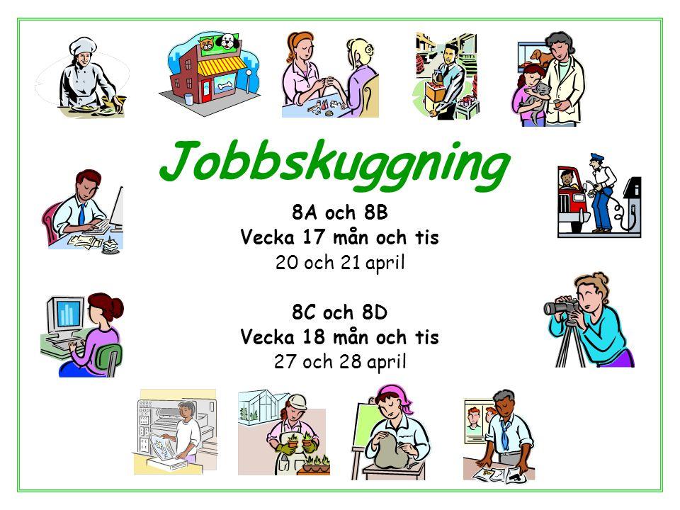 Jobbskuggning 8A och 8B Vecka 17 mån och tis 20 och 21 april 8C och 8D