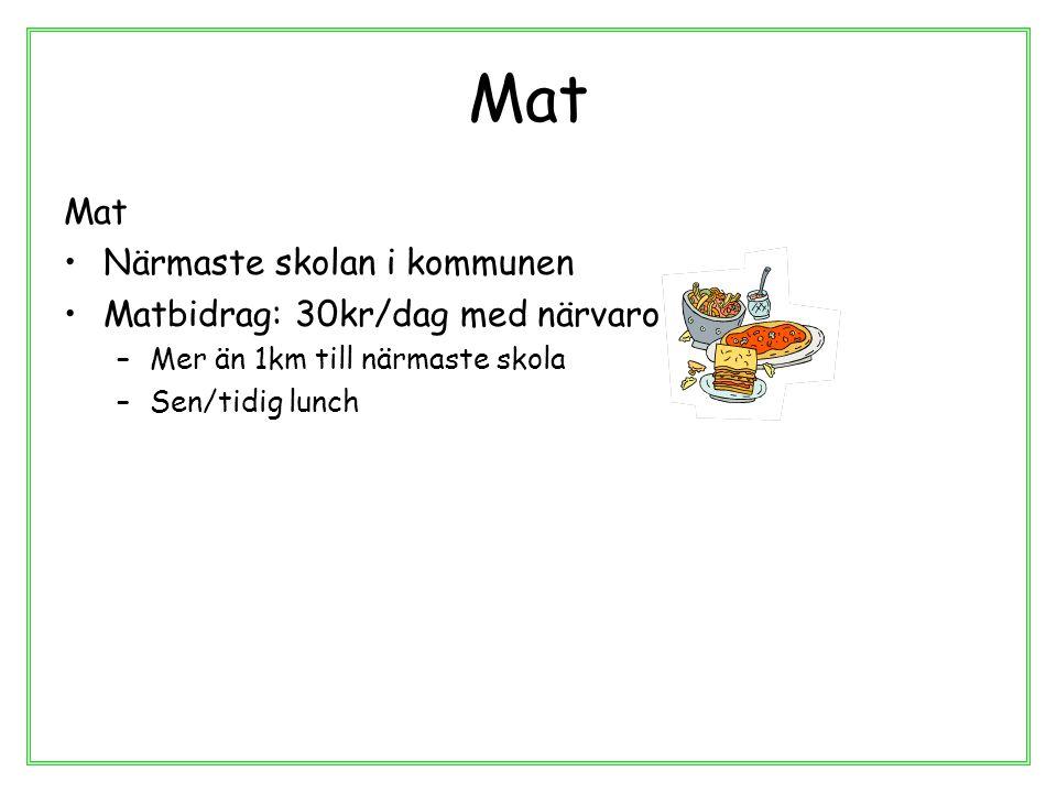 Mat Mat Närmaste skolan i kommunen Matbidrag: 30kr/dag med närvaro