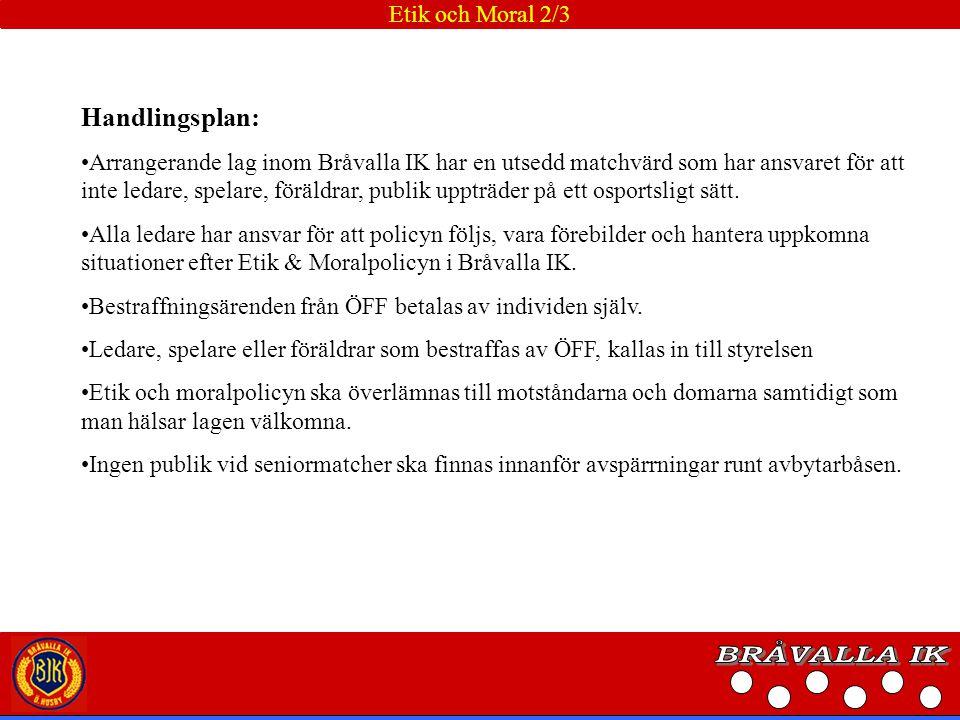 BRÅVALLA IK Handlingsplan: Etik och Moral 2/3