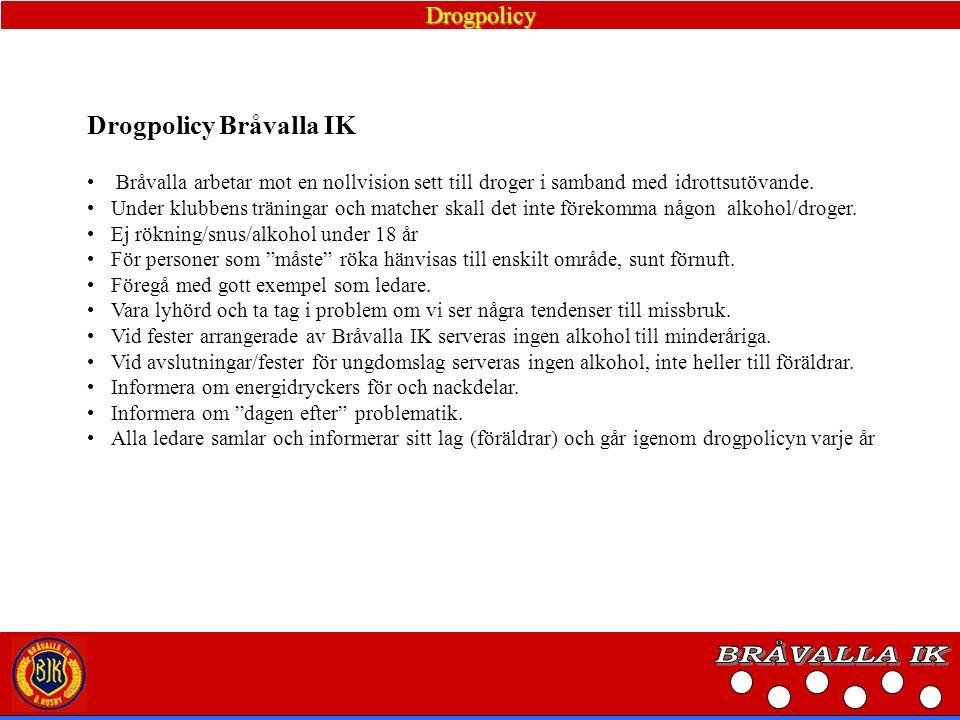 BRÅVALLA IK Drogpolicy Bråvalla IK Drogpolicy