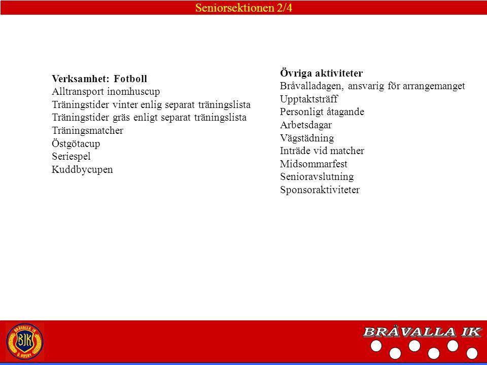 BRÅVALLA IK Seniorsektionen 2/4 Övriga aktiviteter Verksamhet: Fotboll