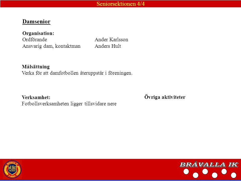 BRÅVALLA IK Seniorsektionen 4/4 Damsenior Organisation: