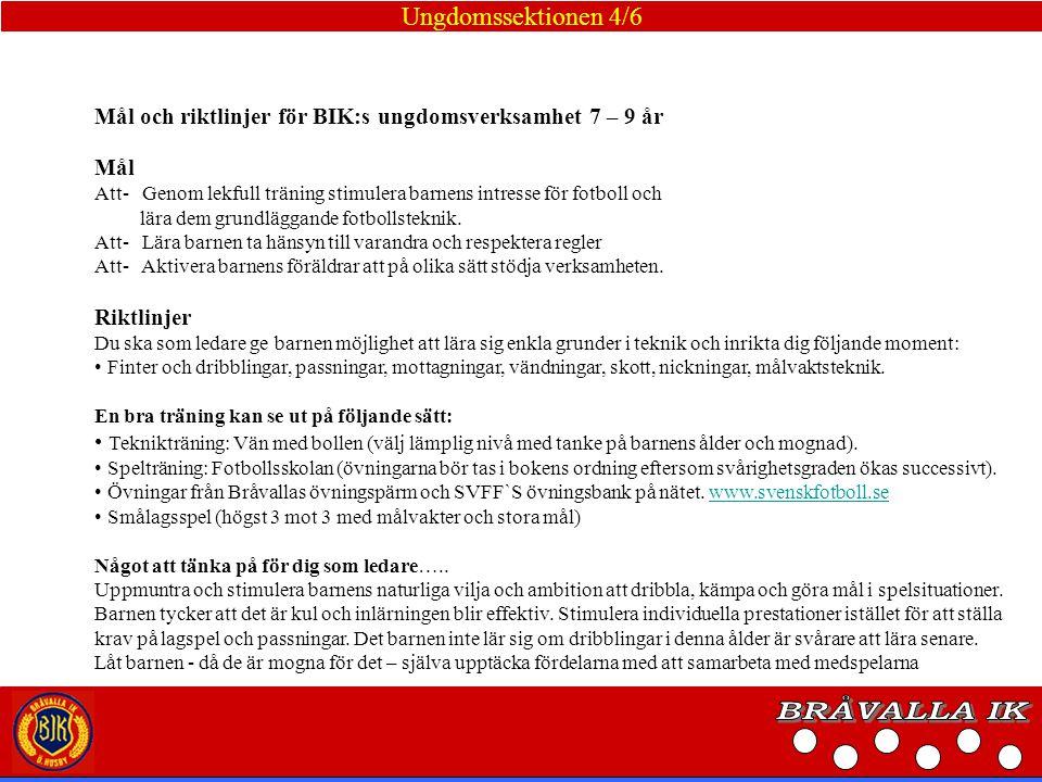 BRÅVALLA IK Ungdomssektionen 4/6