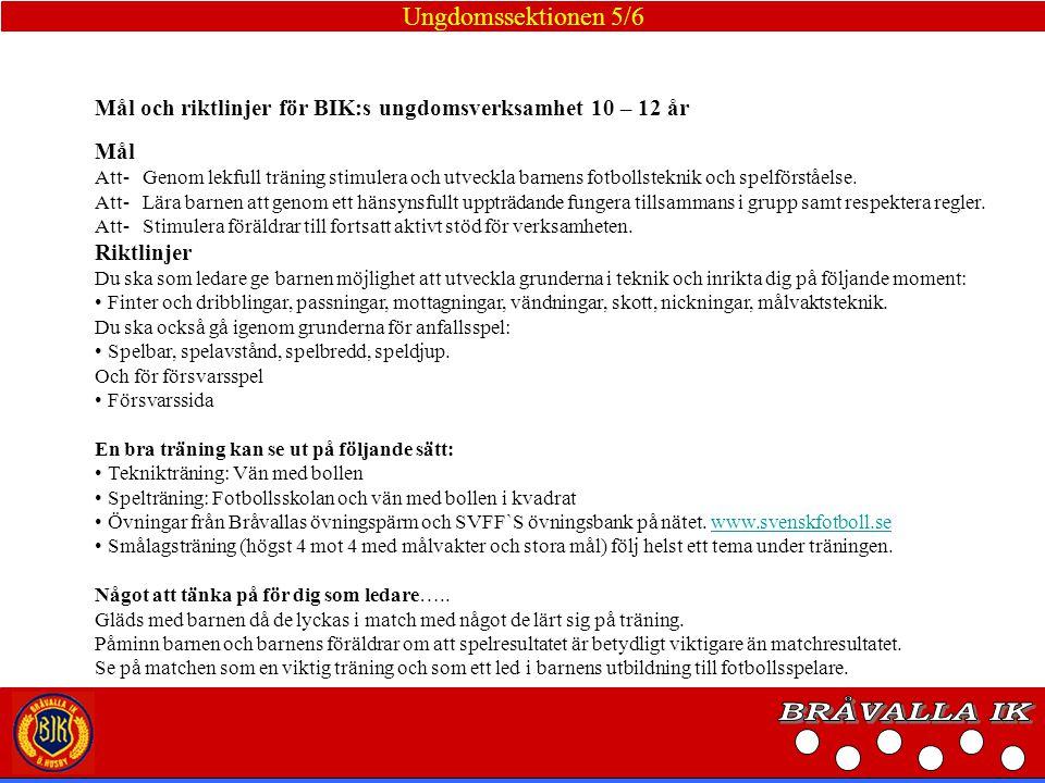 BRÅVALLA IK Ungdomssektionen 5/6