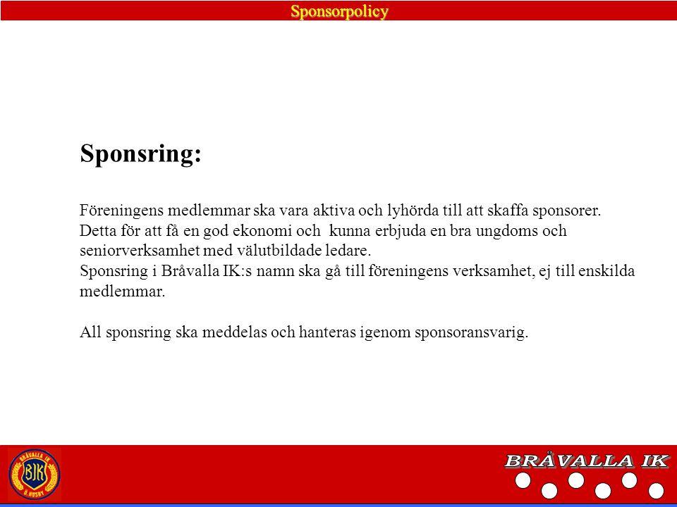 BRÅVALLA IK Sponsring: Sponsorpolicy