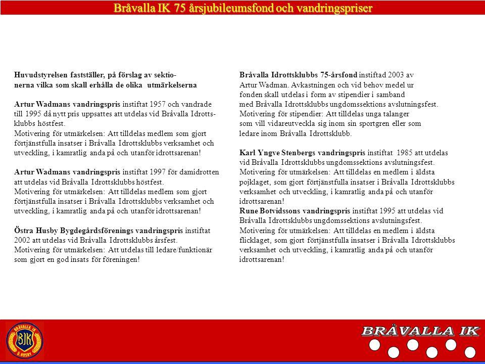 Bråvalla IK 75 årsjubileumsfond och vandringspriser