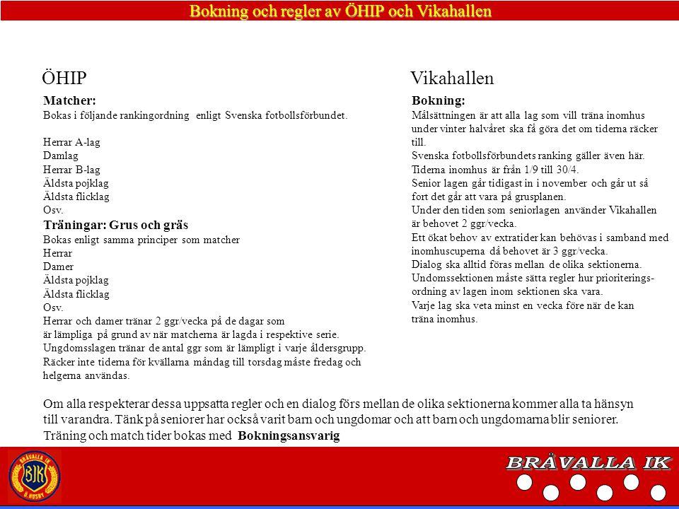 Bokning och regler av ÖHIP och Vikahallen