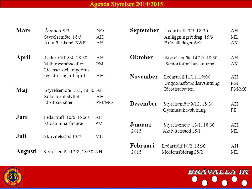 BRÅVALLA IK Agenda Styrelsen 2014/2015 Mars Årsmöte 9/3 NO