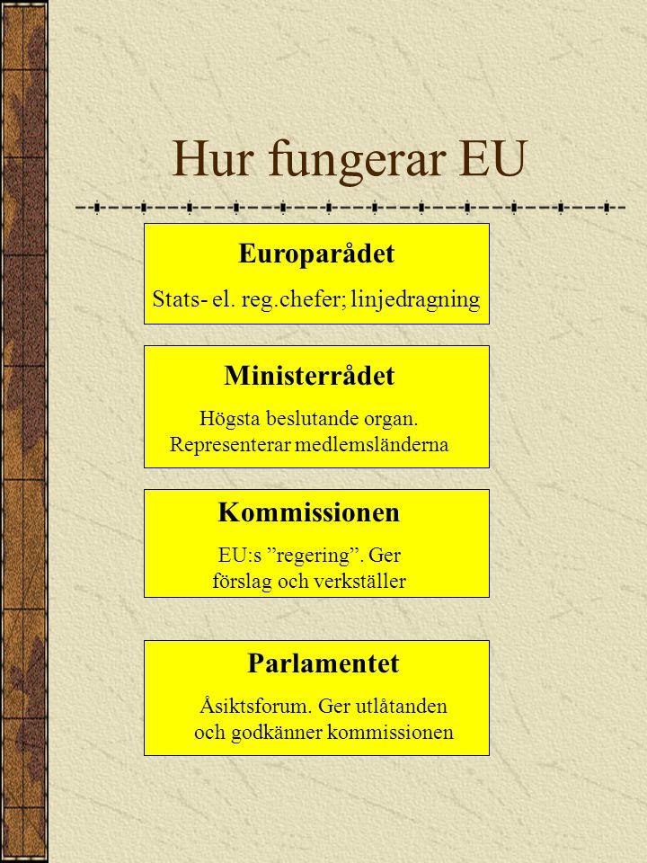Hur fungerar EU Europarådet Ministerrådet Kommissionen Parlamentet
