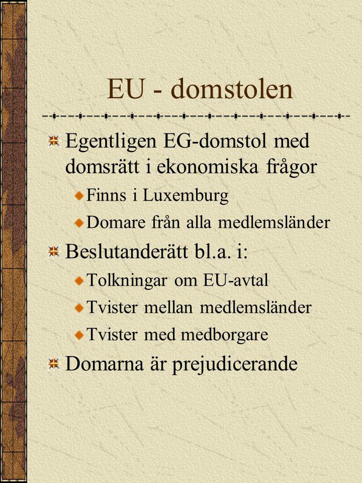 EU - domstolen Egentligen EG-domstol med domsrätt i ekonomiska frågor