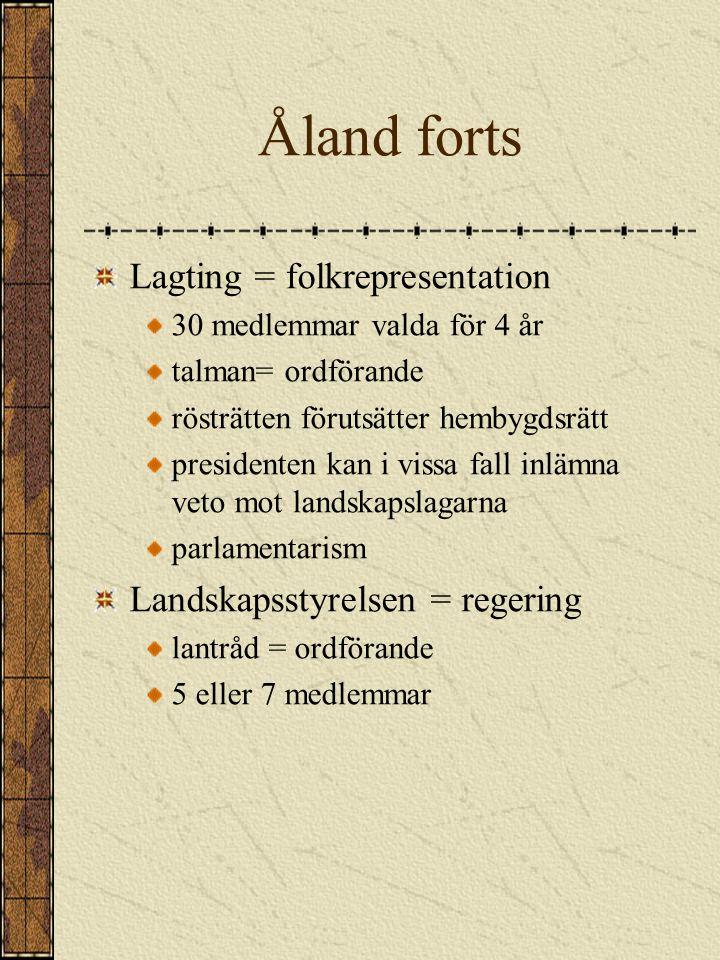 Åland forts Lagting = folkrepresentation Landskapsstyrelsen = regering