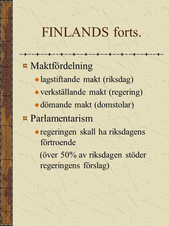 FINLANDS forts. Maktfördelning Parlamentarism