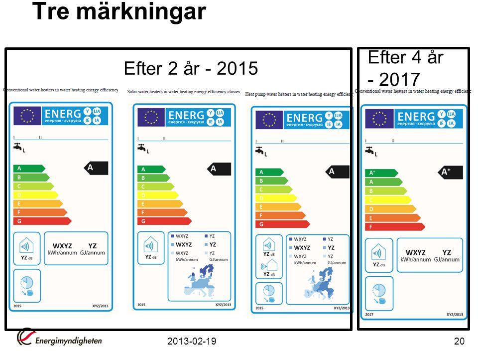 Tre märkningar Efter 4 år - 2017 Efter 2 år - 2015 2013-02-19